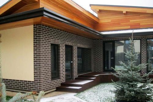оформление фасада дома плитка 2