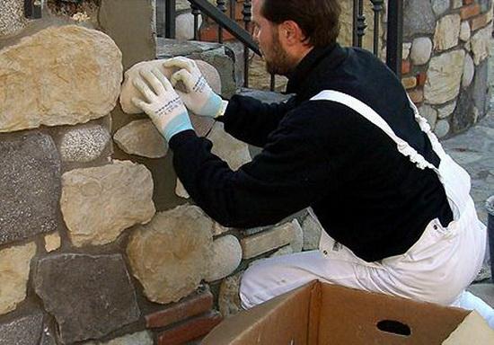 Искусственный камень своими руками монтаж
