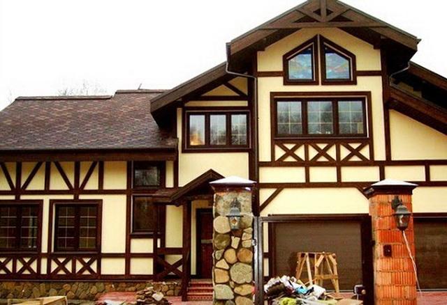 Сочетание цвета крыши и фасада дома на фото 2