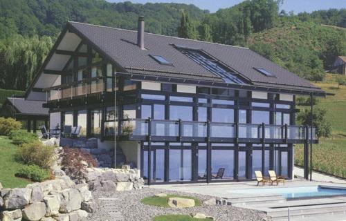 Стеклянный фасад частного дома 1