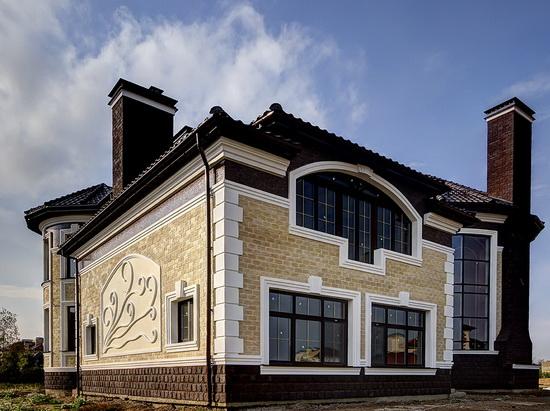 Облицовка фасада дома искусственным камнем 2