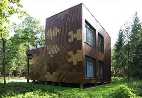 Отделка фасада дома деревом 2