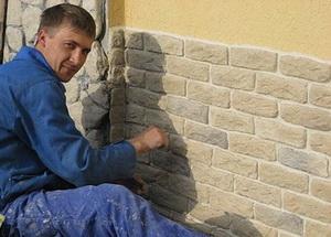 Отделка стен искусственным камнем А