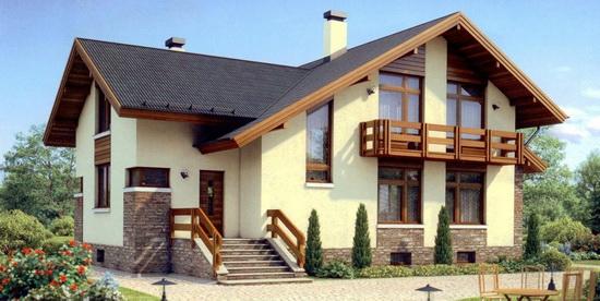 Оригинальная отделка фасада дома из газобетонных блоков 3