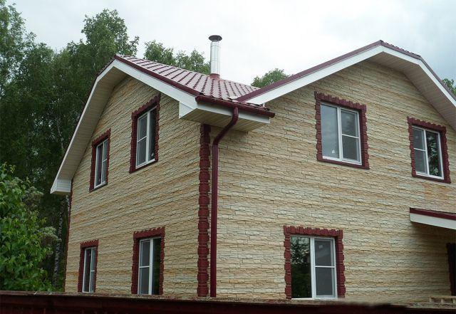 отделка фасада дома панелями под камень фото 9